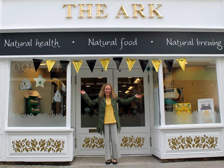Lise Matthews outside The Ark healthy food shop and clinic, Haverfordwest